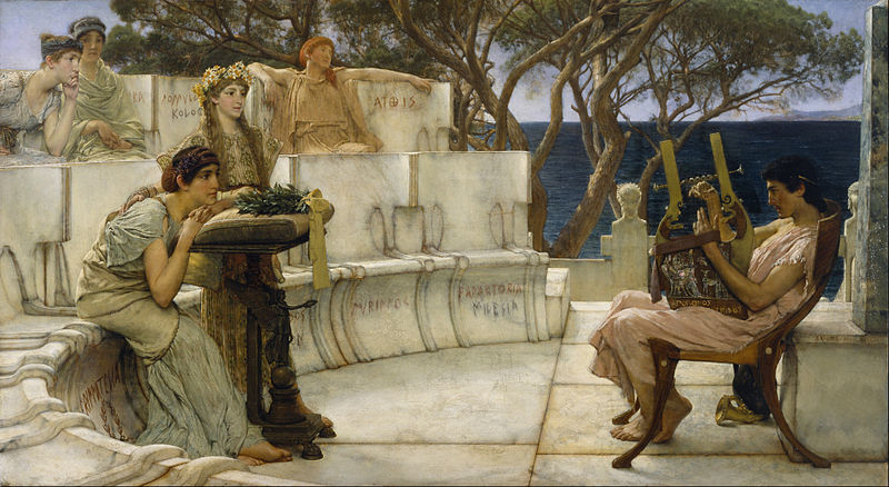 800px Sir Lawrence Alma Tadema R.A. O.M. Sappho and Alcaeus Google Art Project